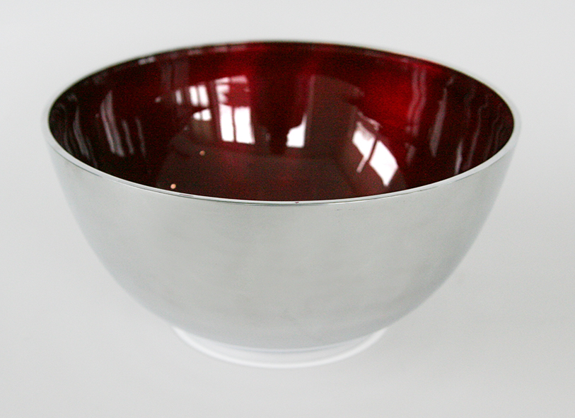 Large Salad Bowl Aluminium And Enamel Red