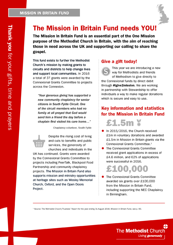Mission in britain fund information sheet single a4 sheet fandeluxe Images