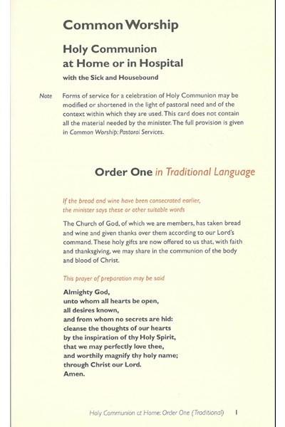 Common Worship: Holy Communion at Home/Hospital Order One in Traditional Language Card