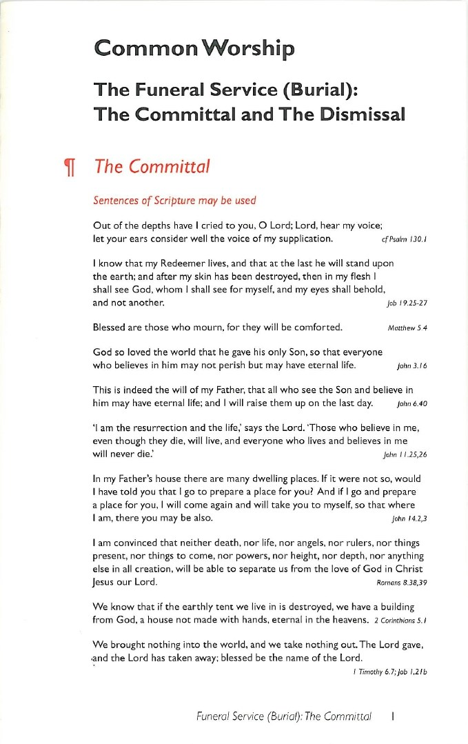 Common Worship: Committal card by Church House Publishing - Card