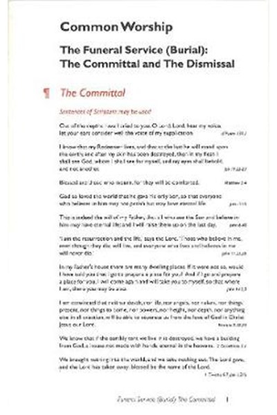 Common Worship: Committal card
