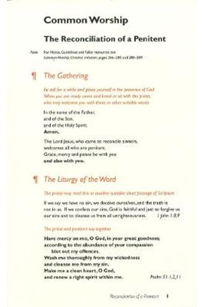 Common Worship: Reconciliation of a Penitent Card